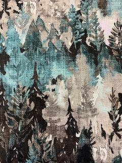 Forest Fable Teal/Brown trees 65