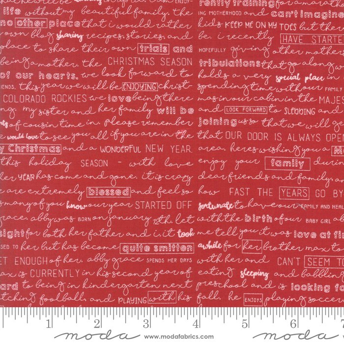 The Christmas Card Sayings Red 5772 11 By Moda