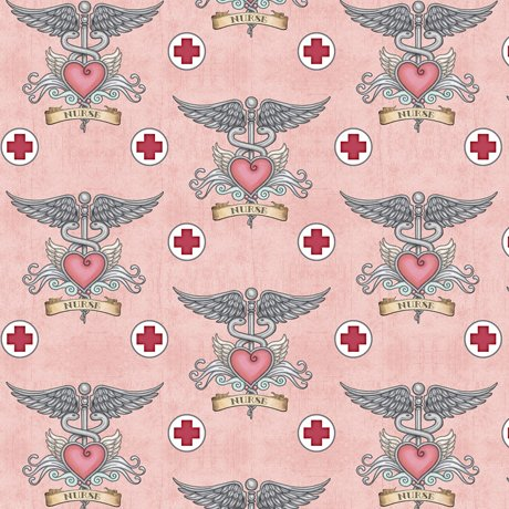 QT Fabrics What The Dr Ordered NURSE TATTOO PINK
