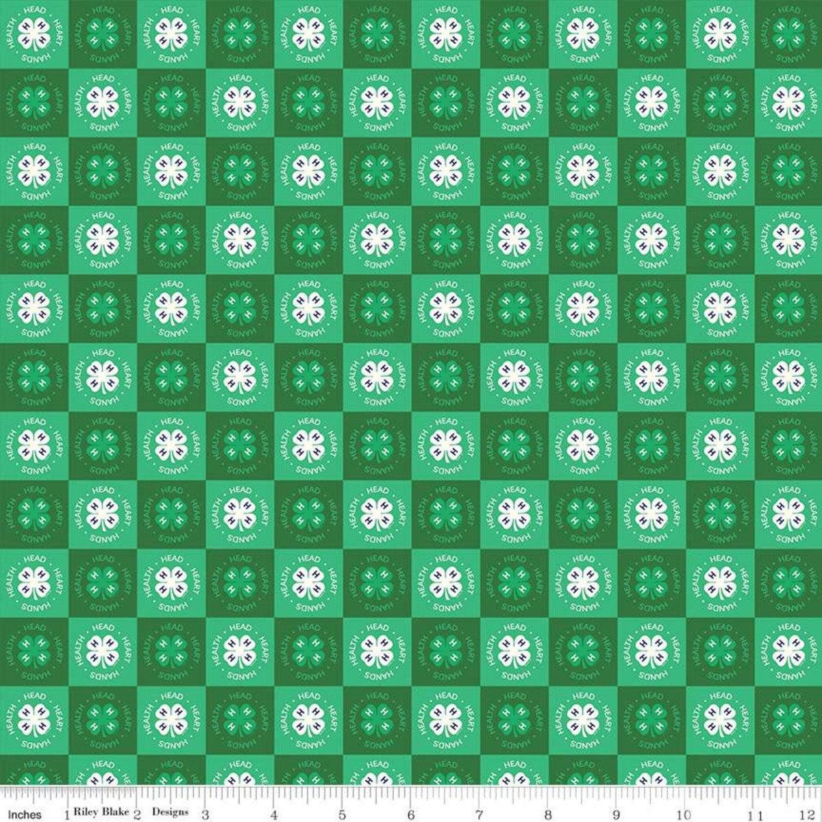 4-H Clover Blocks Fabric By Riley Blake C9123-GREEN