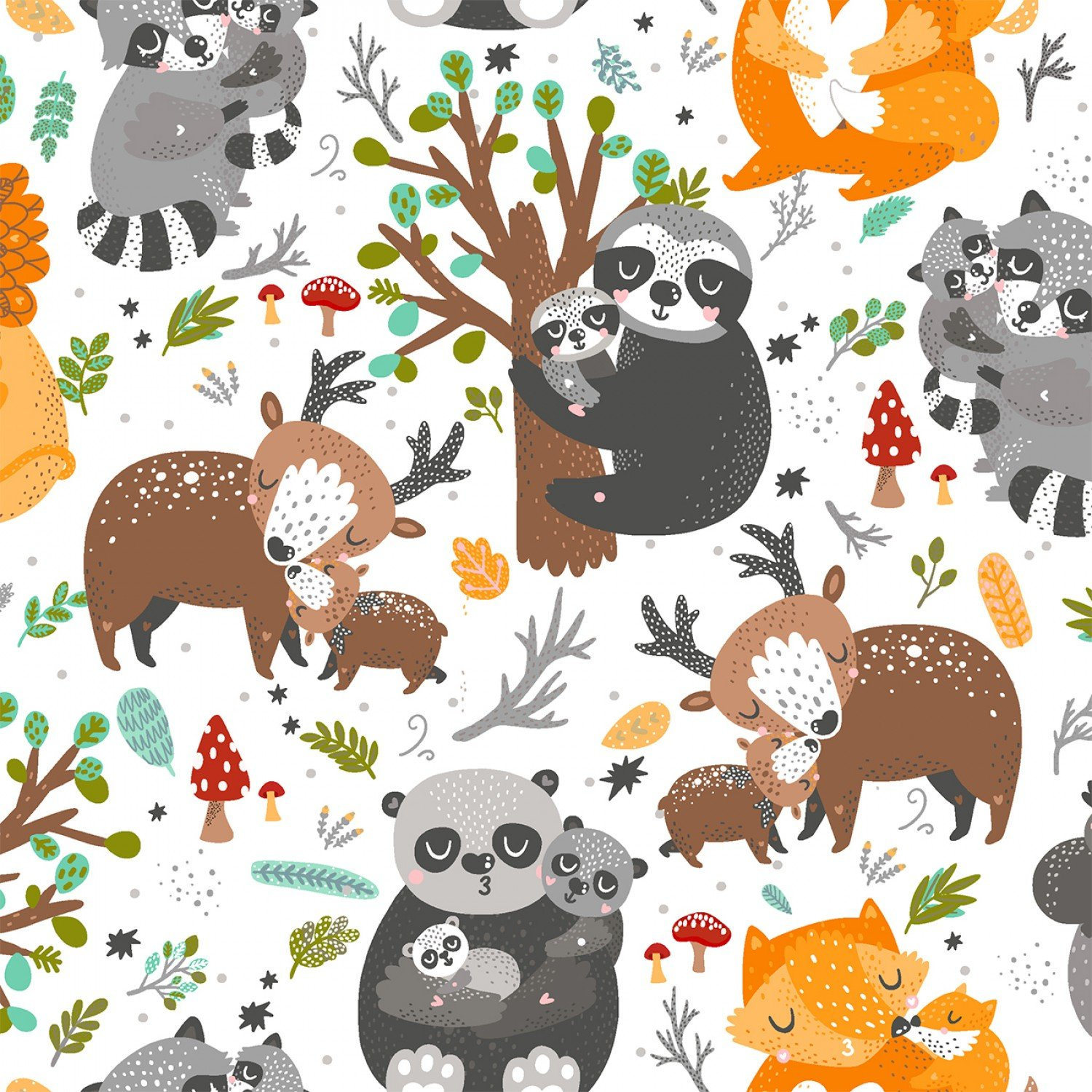 ANIMAL HUGS Fabric By 3 Wishes 15038 WHITE