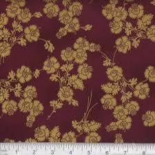 Burgundy Gold Flowers M7453-38G