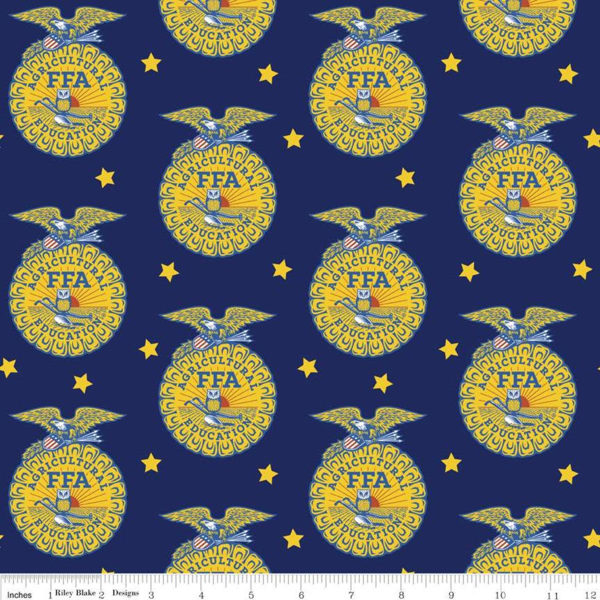 FFA Forever Blue Emblem Blue Fabric By Riley Blake