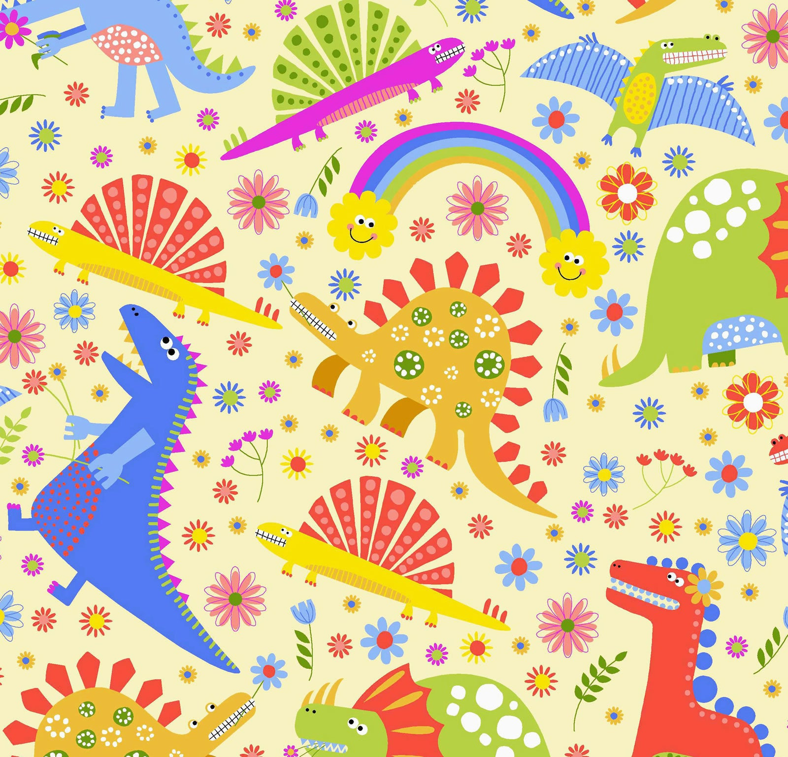 Happy Dino Flannel By Oasis Quilting Corp