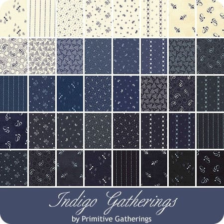 Indigo Gatherings Jelly Roll By Primitive Gatherings Moda Fabric