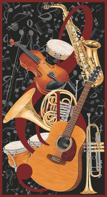 Music Panel Blank Fabric Let The Music Play 9714P