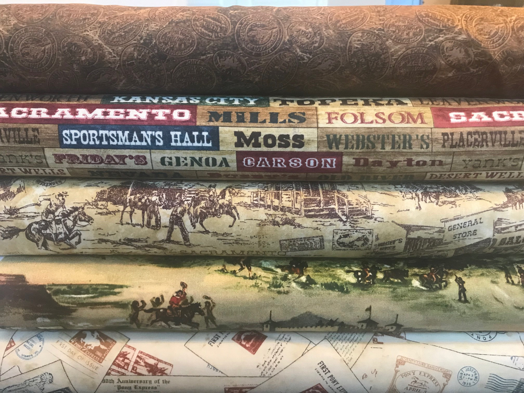 Northcott Pony Express Scene Cotton Quilting Fabric 21827