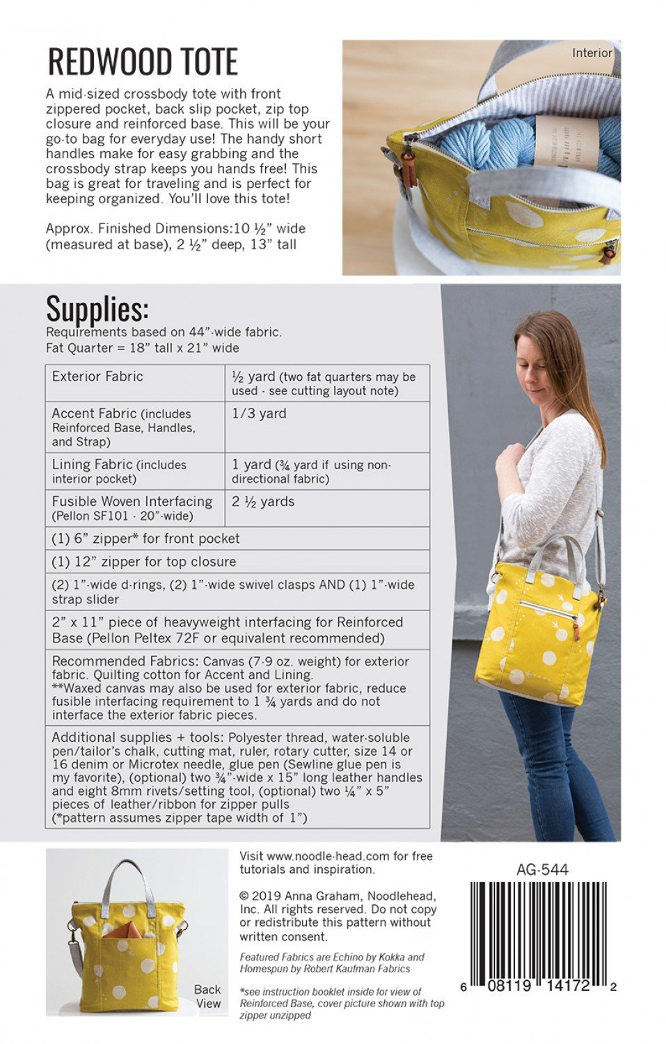Redwood Tote Kit with Ruby Star Fabrics
