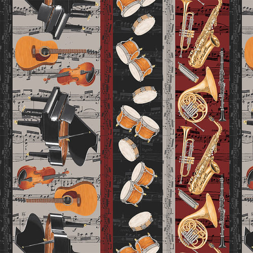 Striped Gray Blank Fabric Let The Music Play 9717-90
