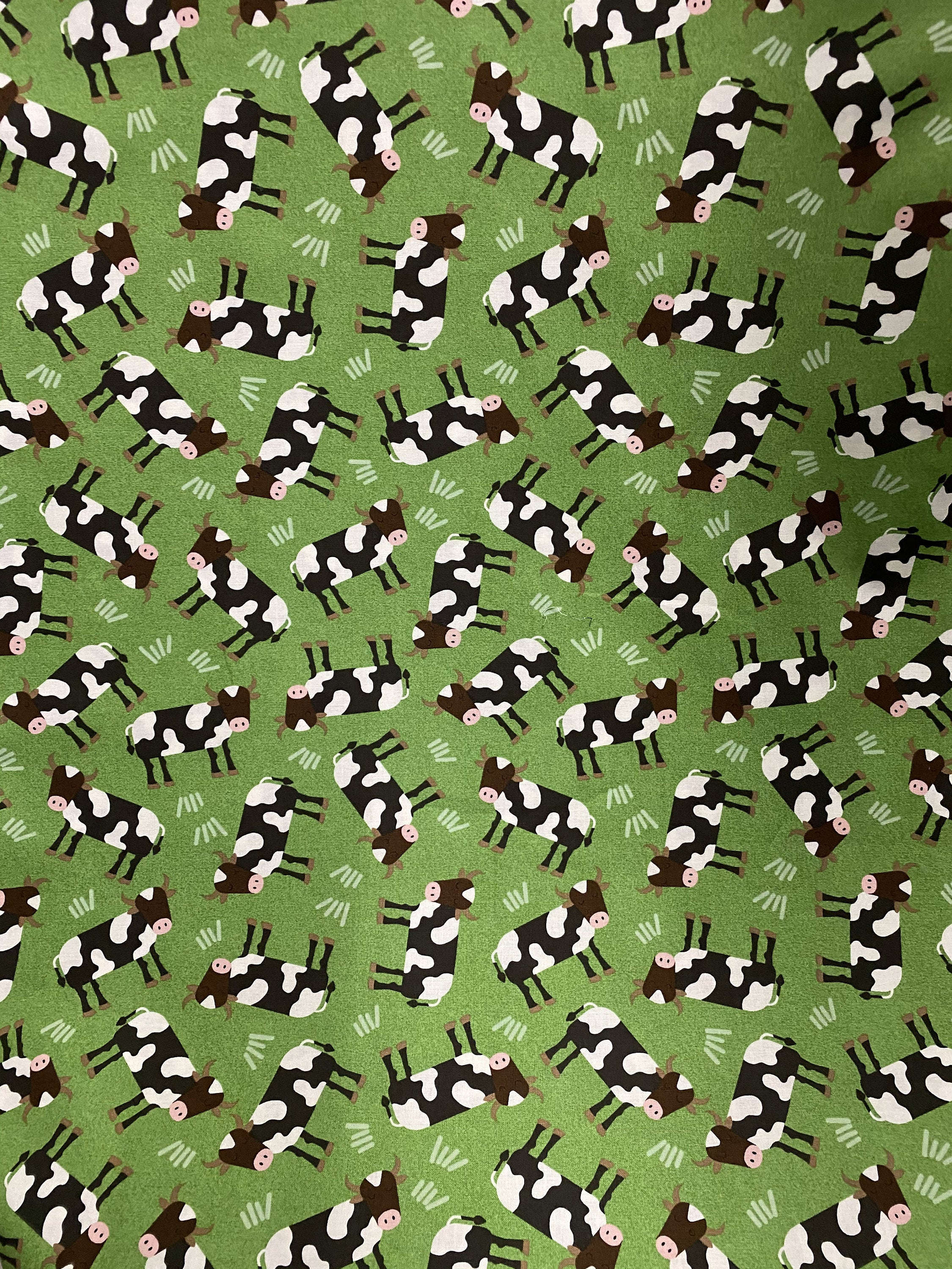 Timeless Treasures Cow Fabric Farm C7117 Brown and White Tossed Cows