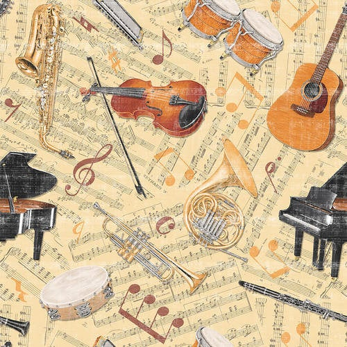 Tossed Instruments Tan Blank Fabric Let The Music Play 9716-30