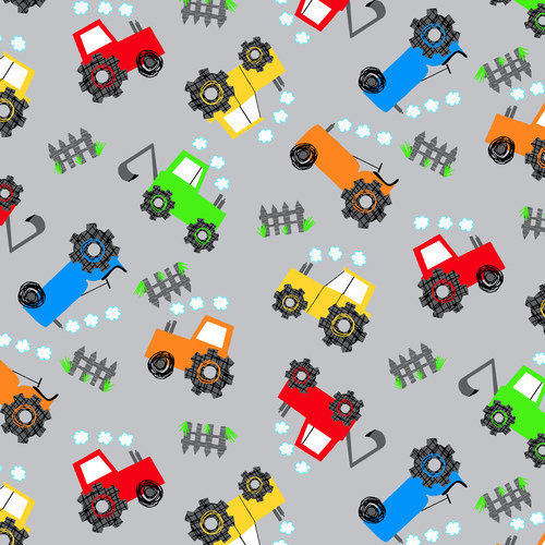 Tossed Tractors Flannel CMFY-0972-90 by AE Nathan Co.