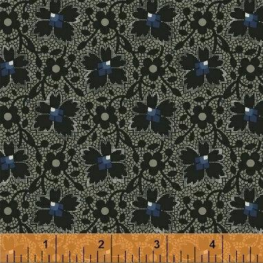 Windham Fabrics Kindred Spirits Gathering Floral Lace Black 75350