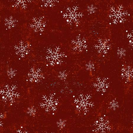 Winter Playground Dk Red Snowflakes  Dan DiPaolo