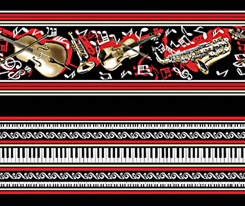 Black Musical Stripe Fabric Musical Moments Collection By Kanvas Studio