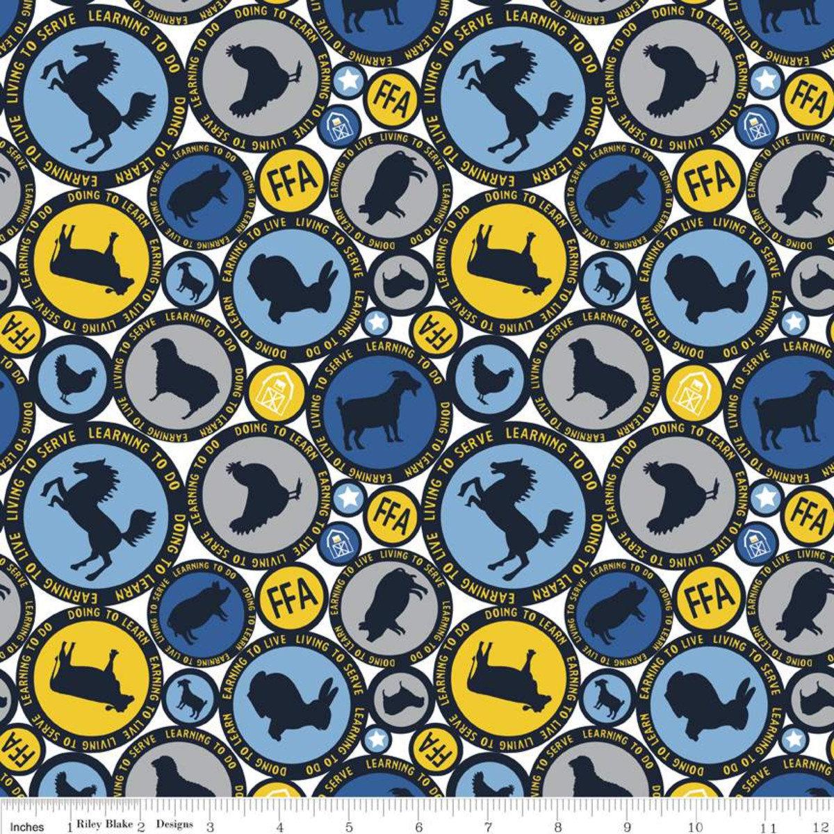 FFA Forever Blue Circle White Fabric By Riley Blake