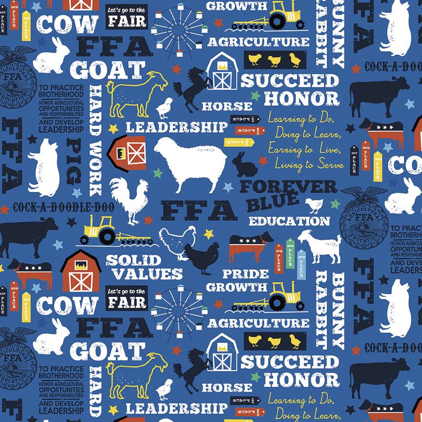 FFA Forever Blue Main Blue Flannel Fabric By Riley Blake