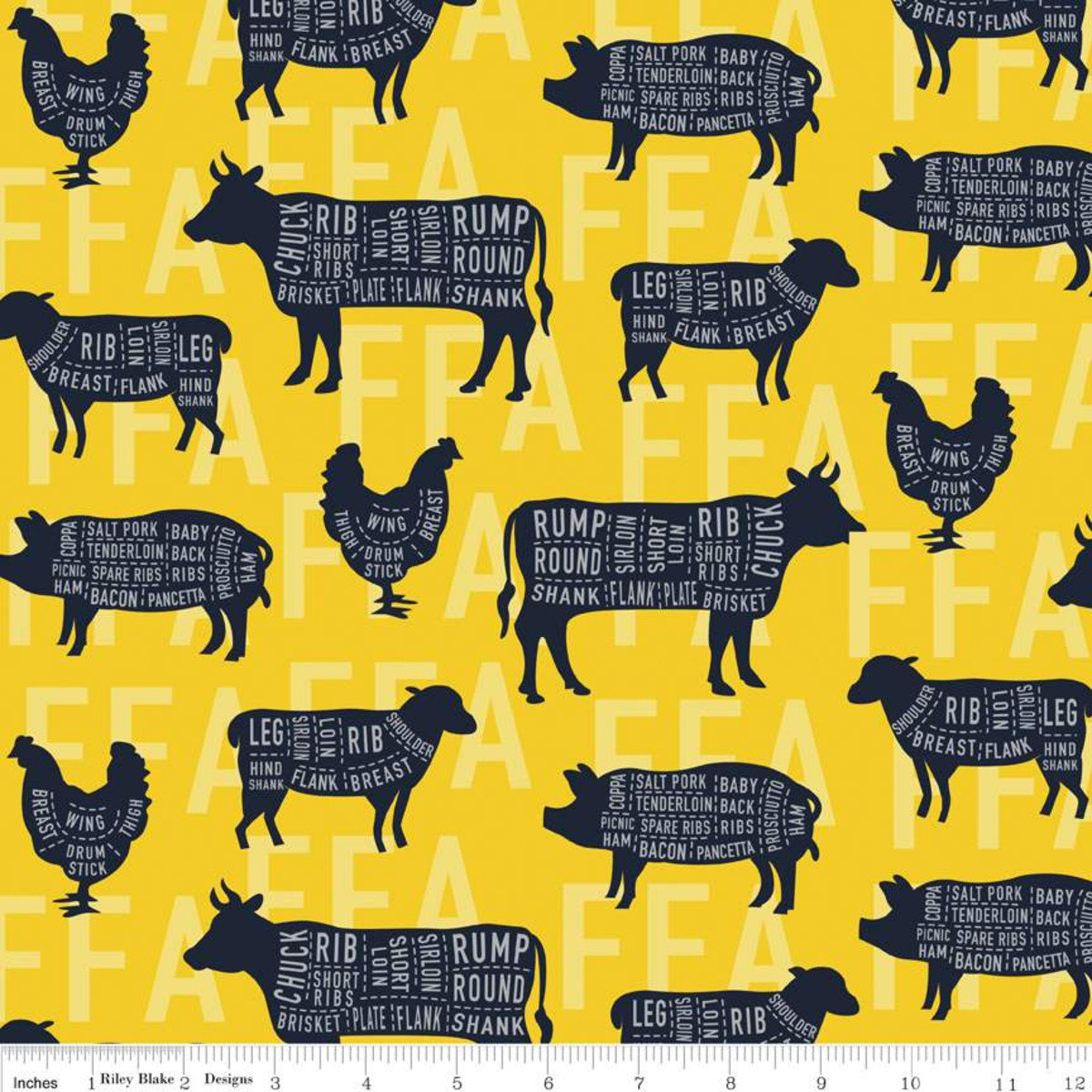 FFA Forever Blue Meat Cuts Yellow Fabric By Riley Blake Designs