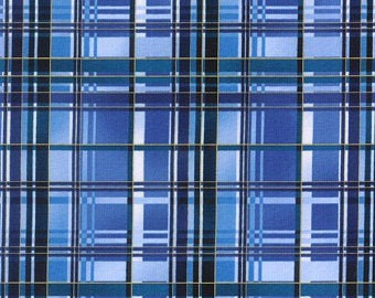 Hoffman Fabrics Blue Plaid with Gold Metallic Aspen Creek