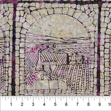 Northcott Banyan Batiks Vino Purple Ice Scenic Blocks Purple 80220-84