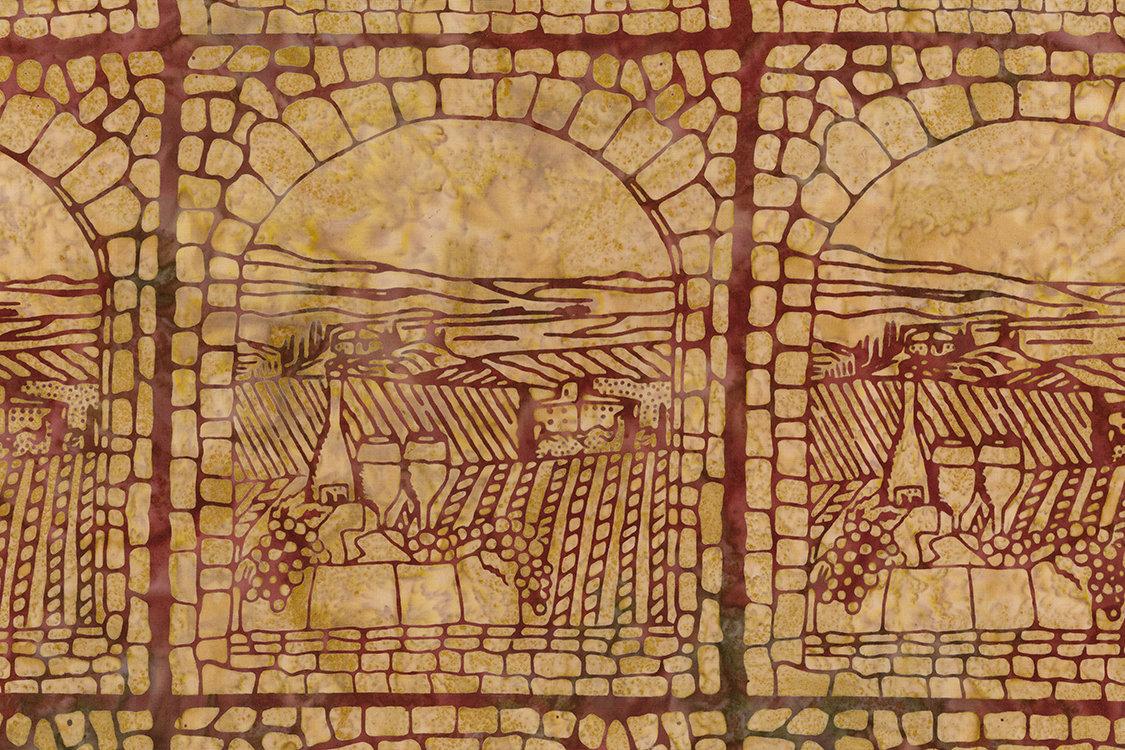 Northcott Banyan Batiks Vino Red Sandstone Scenic Blocks 80220-25