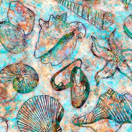 QT Fabrics Oceana Sea Shells Fabric 27088X