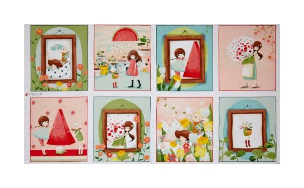 QT Fabrics Truly Gorjuss Melon Drop Girl Picture Patches 24 Panel Multi