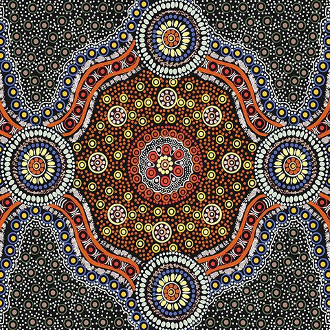 Wild Bush Flowers Black Aboriginal Fabric designed by Layla Campbell