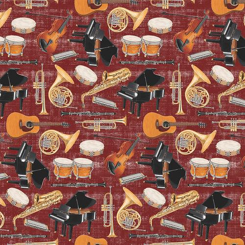 Blank Fabric Let The Music Play Multi Instruments Rust 9718-80