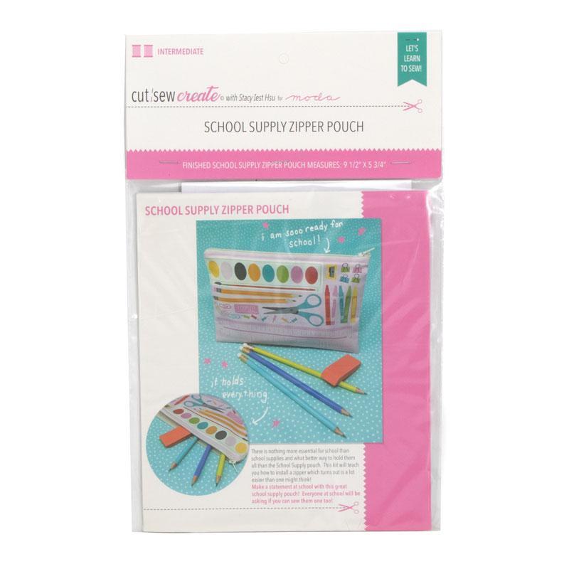 Cut Sew Create School Supply Zipper Pouch Kit