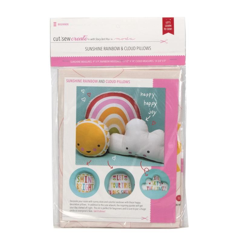 Cut Sew Create Sunshine Rainbow and Cloud Pillows Kit By Moda