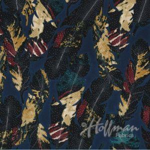 Hoffman Fabrics Feathers Navy Blue P7571-19-NAVY