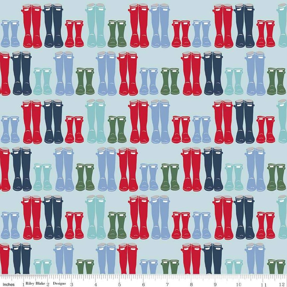 Last Call - Fox Farm Wellies Aqua Fabric By Riley Blake