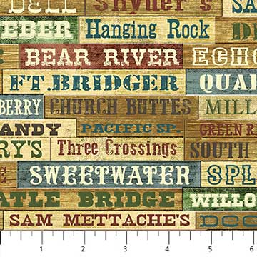 Last Call - Northcott Pony Express Cotton Quilting Fabric Station Names 21829
