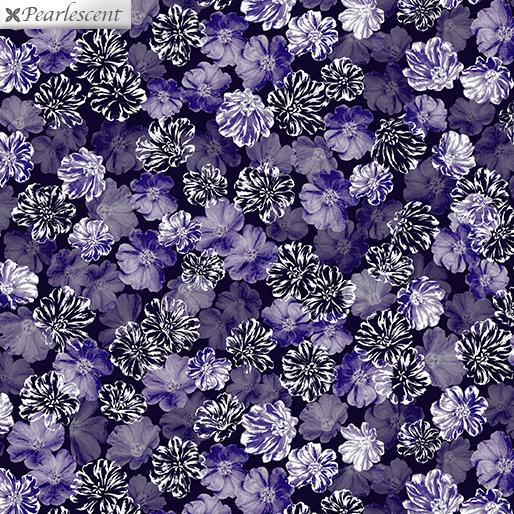 Last Call - Pearly Blooms Navy/Purple 7920P 66  Violet Twight Collection By Benartex Fabrics