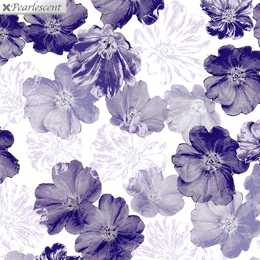 Last Call - Shimmering Blossoms White 7919P-09 Violet Twight Collection By Benartex Fabrics