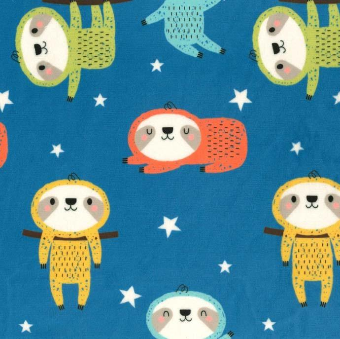 Last Call - Sleepy Time Sloth Minky Fabric Teal by Michael Miller