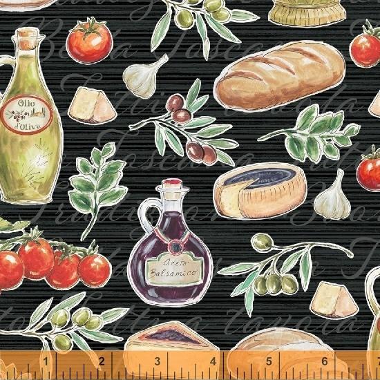 Last Call - Windham Fabrics Bella Toscana At The Tuscan Table Nero Fabric 51351-1