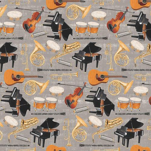 Multi Instruments Gray Let The Music Play  Blank Fabric 9718-90