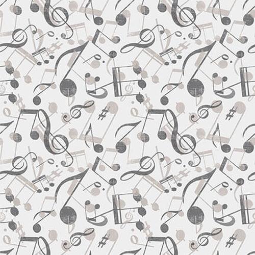 Musical Notes Lt. Gray 9722-90 Blank Fabric Let The Music Play
