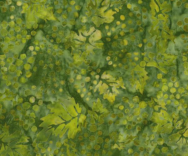Northcott Banyan Batiks Vino Fabric Basil Green Grapes with Leaves 80225-72
