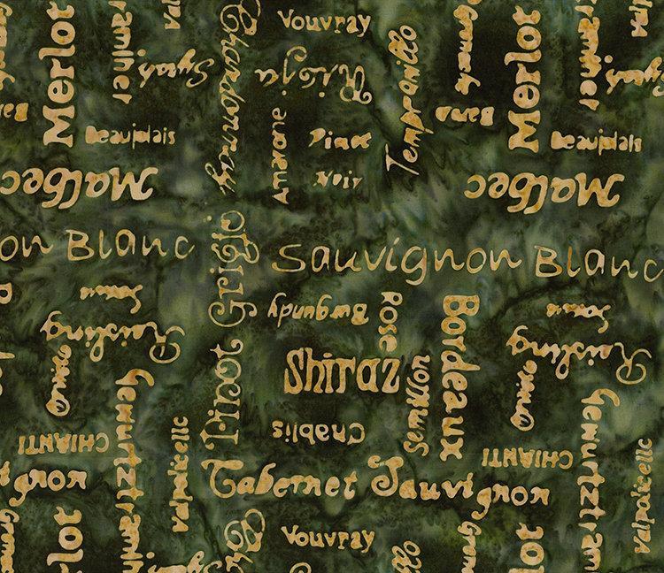Northcott Banyan Batiks Vino Forrest Gold Script 80223-73