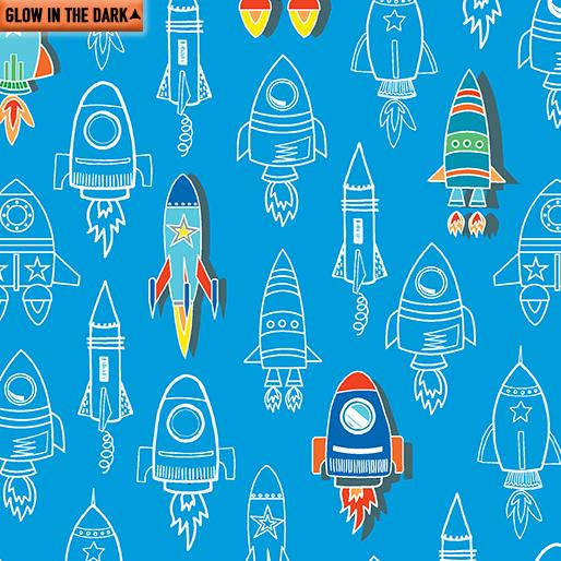 Rocket Launch Royal 7954GL-84 Fabric All Systems Glow Collection From Kanvas