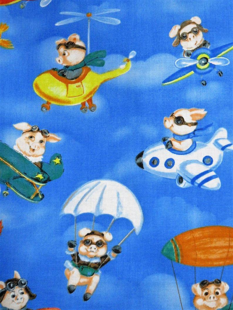 When Pigs Fly Airplanes Blue Cotton Hoffman California Fabrics