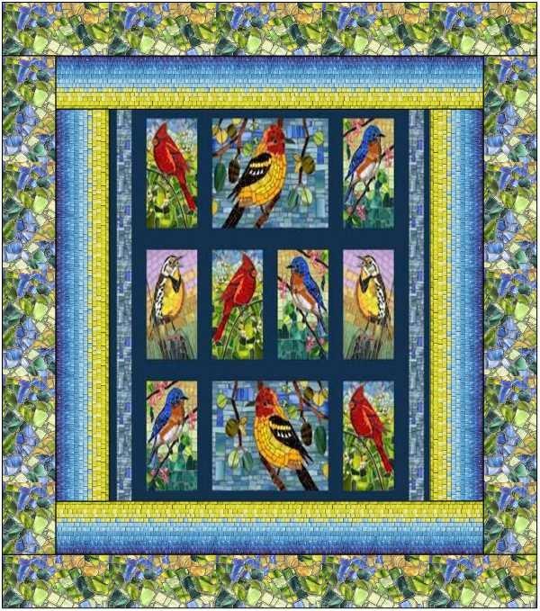 Mosaic Birds Quilt Kit