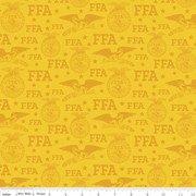 FFA Forever Blue Logo Gold Fabric By Riley Blake