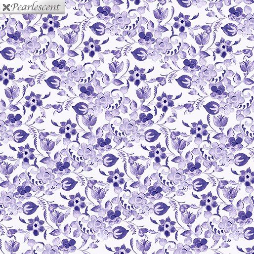Floral Arabesque White 7925P-09 Violet Twight Collection By Benartex Fabrics