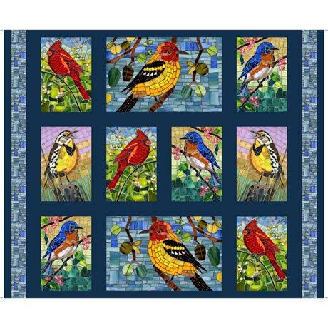 QT Fabrics Glass Menagerie MOSAIC BIRDS PICTURE PATCHES NAVY