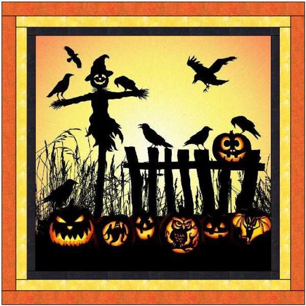 Halloween Scarecrow Pumpkin Quilt Kit 54x54