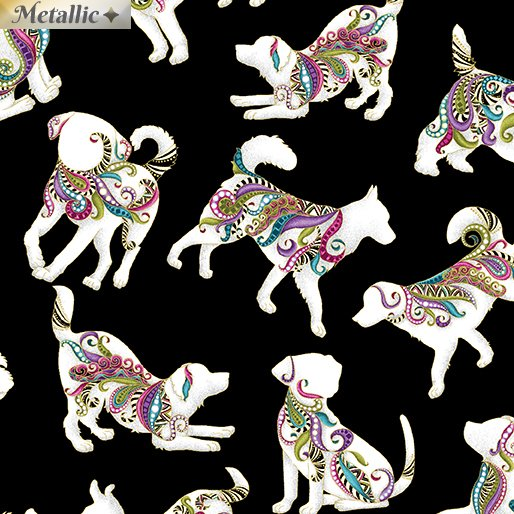 Benartex Dog On It by Ann Lauer Hot Diggity Small Dogs w/Metallic White